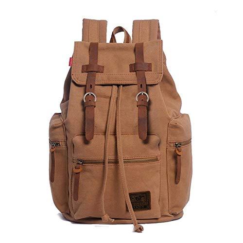(Eartha-AUGUR Series Vintage Canvas School Bag Men's Travel Bags Large Hiking Daypacks, Computers Laptop Backpacks, Unisex Casual Rucksack Satchel Bookbag, Mountaineering Bag for Men (Soil Yellow))