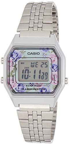 Casio LA680WA-2C Women's Vintage Floral Dial Alarm Chronograph Digital Watch