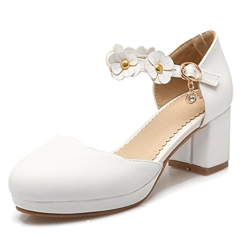 Easemax Womens Sweet Ankle Buckle Strap Pendant Flowers Mid Chunky Heel Sandals White TPZBUF