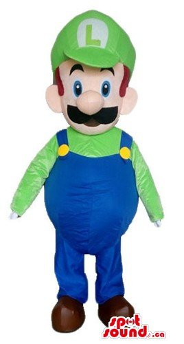 Green and blue dressed Super Mario cartoon character SpotSound Mascot US (Super Mario Mascot)