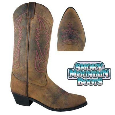 Western Shoe Boots Leather (Smoky Women's Brown Western 12
