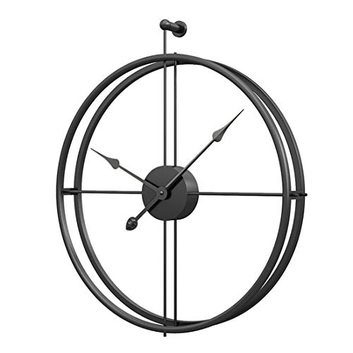 GUABOHHY 52Cm Hot Popular Retro European Style Mute Iron Wall Clock Silent Hanging Clock for Home Office Decor - Black Frame and Pointer