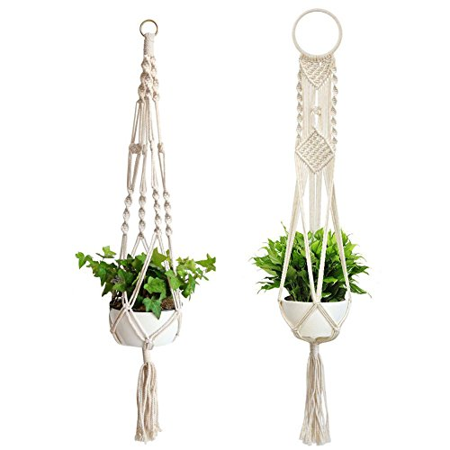 Macrame Plant Hanger, 2 Pcs Different Indoor Outdoor Hanging Planter Basket,41 inch Handmade Cotton Rope Planter Stand Flower Pots for Decorations by FHCHO