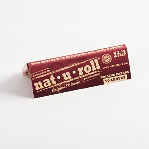 25 Packs Nat-U-Roll Original Classic 1 ¼ Size Rolling Paper + 1 XL Beamer  Doob Tube + Beamer Smoke Sticker