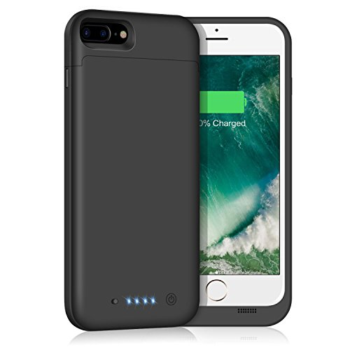 iPhone 8 Plus/7 Plus Battery Case, Trswyop Rechargeable 7000mAh Charger Case External Portable Charging Case for Apple iPhone 7plus /8plus Battery Power Bank (5.5 Inch) (Black) by Trswyop