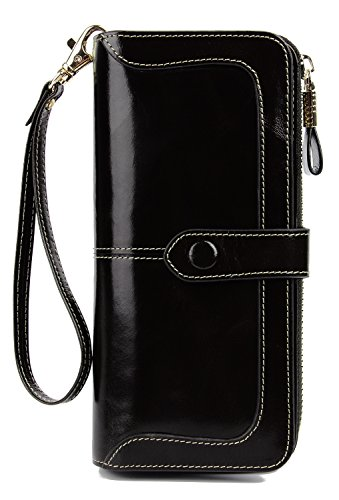 (Anvesino Women's RFID Blocking Large Capacity Leather Clutch Wallet Zipper Purse Ladies Credit Card Holder Organizer(1-Waxed Black))