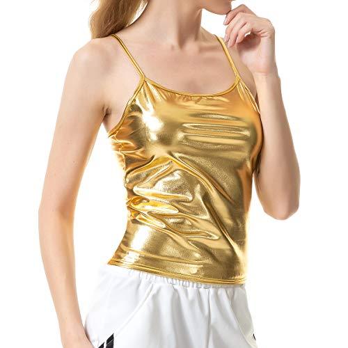 Vimoisa Women Metallic Camisole Yoga Jazz Tops Solid Vest(Gold XL)