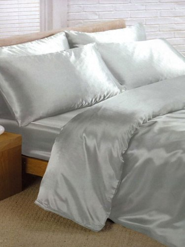 Charisma Silver Satin Double Duvet Cover, Fitted Sheet and 4 Pillowcases Bedding Set Home Textiles Ltd