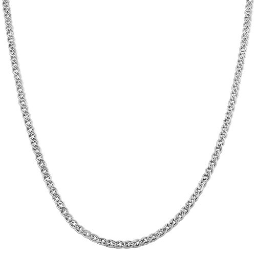Kooljewelry 10k Solid White Gold Double Cable Link Chain Necklace (2.2 mm, 18 inch)