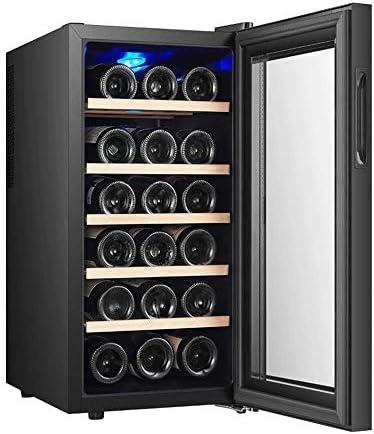 JJSFJH 18 Botella termoeléctrica Vino Tinto y Blanco de Refrigeración/Chiller Mostrador Bodega con Digital Pantalla de Temperatura, Independiente Frigorífico de Cristal de la Puerta silencioso funci