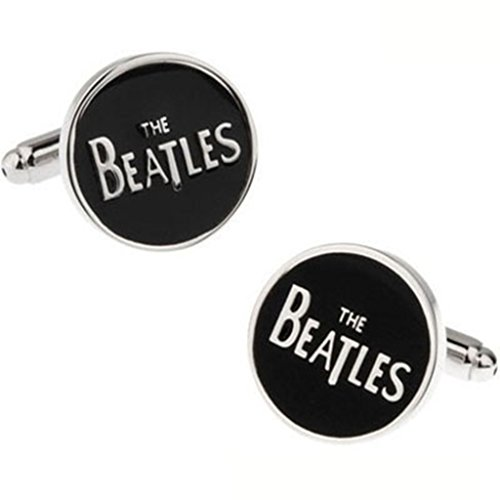 s Black Round Cufflinks with Words the Beatles Mens Wedding Gift ()