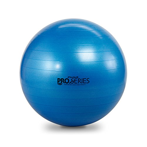 TheraBand Exercise and Stability Ball for Improved Posture, Balance, Core Fitness, Coordination, Rehab, Burst Resistant Pro Series SCP Slow Deflate Anti Burst Abdominal Exercise Equipment Ball with Pump, Blue, 75cm Diameter
