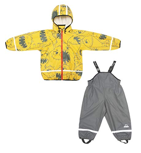 Boys & Girls Kids Raincoat Jacket with Pants Waterproof Reflective Children Rainwear Set (Yellow-Boy, 104/4year)
