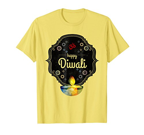 Mens Happy Diwali T-Shirt For India's Hindu Deepavali Festival 2XL Lemon by Diwali Gifts for Indians