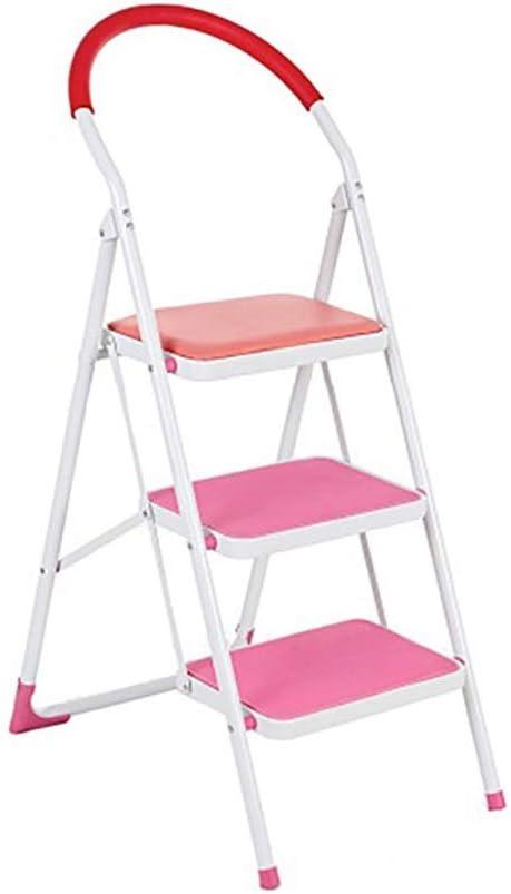 XuQinQin Espesor de aleación de aluminio Escalera multifunción Escalera plegable Escalera casera de hierro forjado Taburete interior Espesor plegable Escalera pequeña de tres escalones Taburete elevad: Amazon.es: Hogar