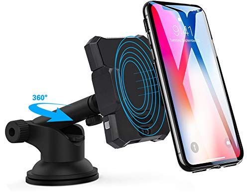 Qi Wireless Car Charger Mount, Dgtal Infrared Automatic Induction Car Charging Holder Fast Wireless Phone Holder Air Vent Charging Bracket for Apple iPhone XR XS Max X 8 Samsung All Qi Enabled Phones