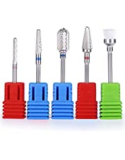 MelodySusie Tungsten Carbide Nail Drill Bits - 3/32''(2.35mm) Professional Acrylic Nail File Drill Bit Set, Manicure Pedicure Cuticle Gel Nail Polishing, 5 Pcs