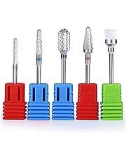 MelodySusie Tungsten Carbide Nail Drill Bits - 3/32''(2.35mm) Professional Acrylic Nail File Drill Bit Set, Manicure Pedicure Cuticle Gel Nail Polishing, 5 Pcs