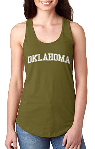 HAASE UNLIMITED Oklahoma - State School University Sports Ladies Tank Top (Military Green, Medium)
