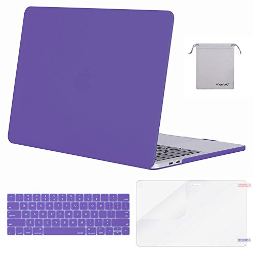MOSISO MacBook Pro 13 Case 2018 2017 2016 Release A1989/A1706/A1708, Plastic Hard Shell & Keyboard Cover & Screen Protector & Storage Bag Compatible Newest Mac Pro 13 Inch, Solid Purple
