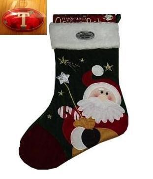 santa christmas stocking with name badge t