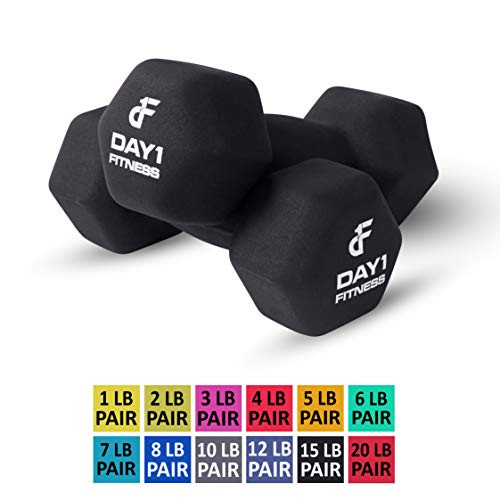 Neoprene Dumbbell Pairs by Day 1 Fitness - 15 Pounds - Non-Slip, Hexagon Shape, Color Coded, Easy To Read Hand Weights for Muscle Toning, Strength Building, Weight Loss