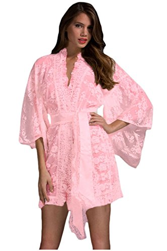 Bubble Wrap Costume Canada (PEGGYNCO Womens Pink Belted Lace Kimono Nightwear Size XL)