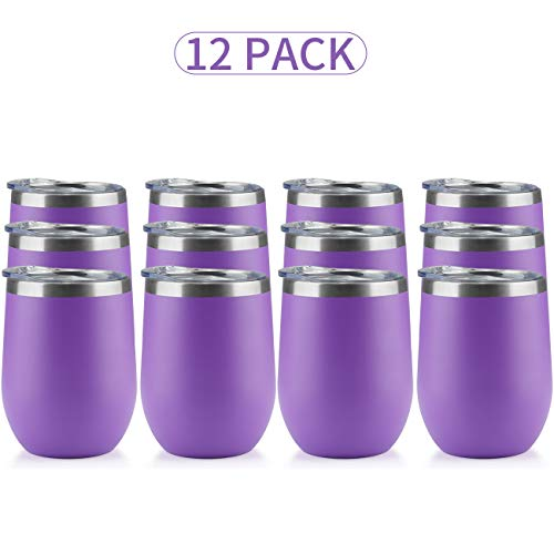 (12oz Insulated Cooling Cups,12-Pack, Wine Tumbler with Lid, Stemless Stainless Steel Insulated Wine Glass Double Wall Durable Coffee Mug, for Champaign, Cocktail, Beer, Office use)