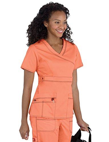 Peaches Wrap Scrub Top (Dickies Women's Medical Mock Wrap Top_Peach Parfait_Large,817355)