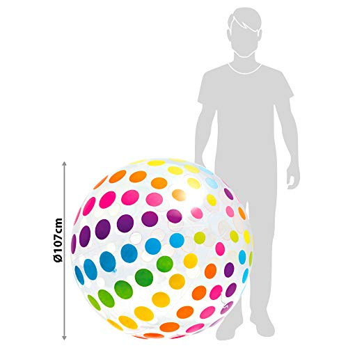 Intex Jumbo Inflatable 42 Giant Beach Ball - Crystal Clear with Translucent Dots, 1 Pack