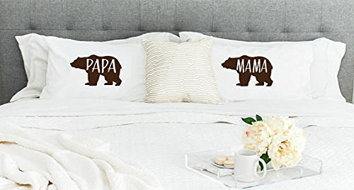 (Set of 2 Mama & Papa Bear Collection Standard/Queen Pillowcases)