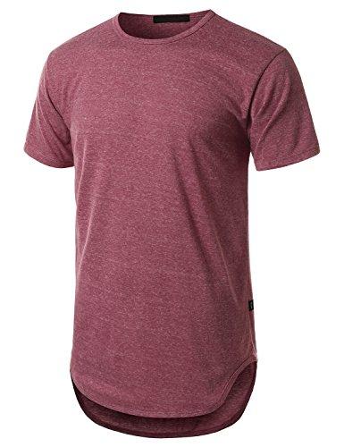 URBANCREWS Mens Hipster Hip Hop Lightweight Longline T-shirt BURGUNDY SMALL