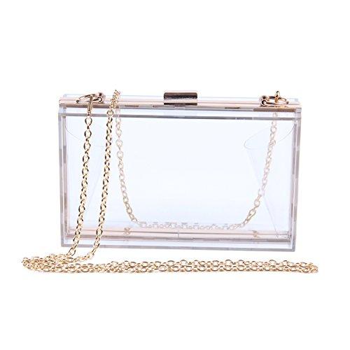 Lanpet Women Acrylic Transparent Evening Clutches Shoulder Bag Cross-Body Purse Party Bag (Transparent (Square Purse)
