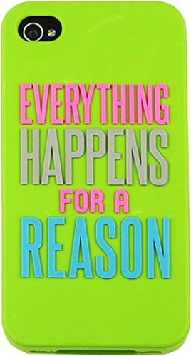 Trendy Lime Green Natural Life -Everything Happens For A Reason Words of Wisdom Motif iPhone Cover Phone Case - Word 4s Case Iphone