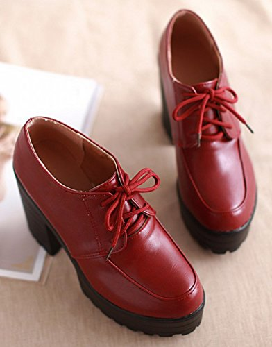 Oxfords High Booties Classic Red Lace Boots Up IDIFU Chunky Short Women's Heels Platform WRYgFZqw