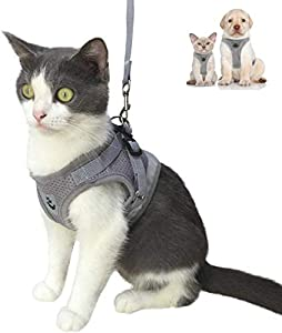 Cat Harness and Leash Escape Proof and Dog Harness Adjustable Soft Mesh Vest Harness for Walking with Reflective Strap for Pet Kitten Puppy Rabbit -Grey,L