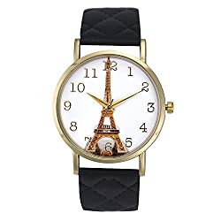 Best Deal Women Quartz-Watch Eiffel Tower Pattern Wristwatch Women's Clock Relogio Feminino Vogue Faux Leather Watches Montre