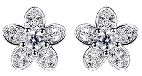 Epinki Women's 18K White Gold Plated Jewelry Stud Earrings Ear Rings Flowers Inlaid Cubic Zirconia
