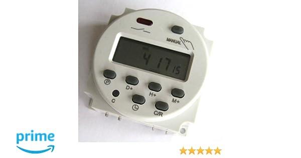 Reloj temporizador Digital Programable CC 12V CA Relé conmutador 16A Amps: Amazon.es: Electrónica
