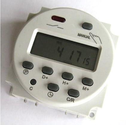 Reloj temporizador Digital Programable CC 12V CA Relé conmutador 16A Amps