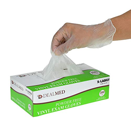 Dealmed Disposable Vinyl Exam Powder Free Gloves, Size X-Large, 100 Count from Dealmed