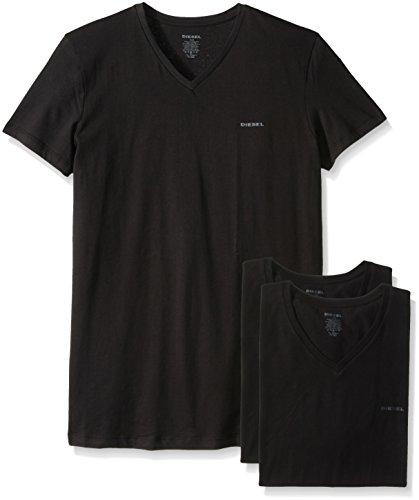 Diesel men 39 s jake 3 pack essentials v neck t shirt black for Mens diesel v neck t shirts