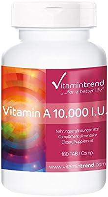 Vitamina A 10.000 U.I – vegana – alta dosificación – sin estearato de magnesio – 180 tabletas – tratamiento para 6 meses