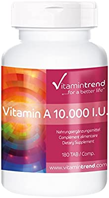 Vitamina A 10.000 U.I - Retinol - Vegana - alta dosificación ...