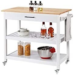 """Kitchen Yaheetech Kitchen Island Cart with Wheels, 3 Tier Rolling Utility Cart with 1 Drawer and 2 Spacious Storage Shelf 40"""" L… modern kitchen islands and carts"""