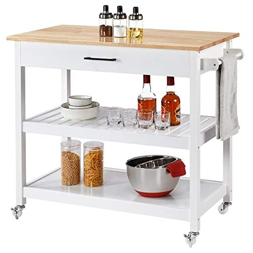 Kitchen YAHEETECH Kitchen Island Cart with Wheels, 3 Tier Rolling Utility Cart with 1 Drawer and 2 Spacious Storage Shelf Solid… modern kitchen islands and carts