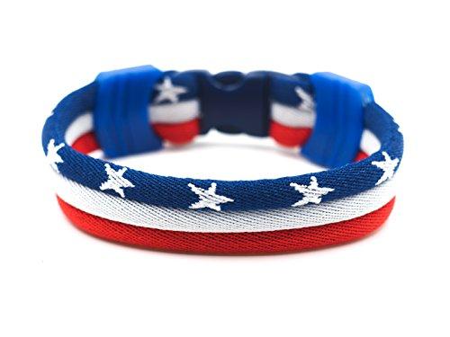 USA Flag Bracelet - Vivid Colors - 3 Sizes Available (USA, - 3 Usa Size
