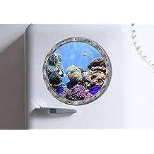 "BIBITIME 11"" x 11"" Fake Submarine Window Undersea View Wall Decal Beautiful Coral Tropical Fish Vinyl Sticker for Bathroom Tile Washroom Washing Machine Kids Room Decor"