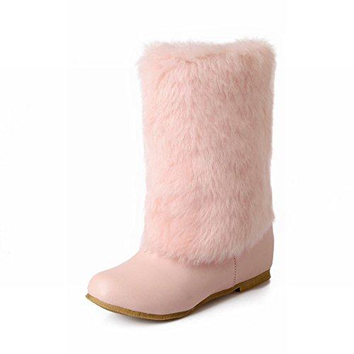 Show Shine Womens Fashion Faux Fur Nascosta Zeppa Stivali Da Neve Con Tacco Rosa