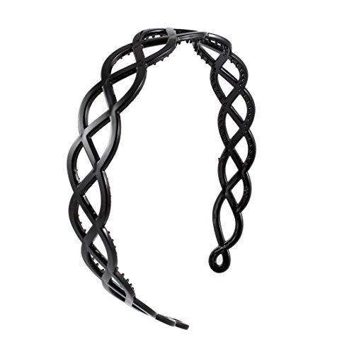 2.5cm Wide Black Plastic Wavy Trim Hair Hoop Headband for Ladies D2S9